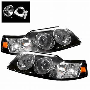 1999-2004 Ford Mustang LED 1PC Black Projector Headlights