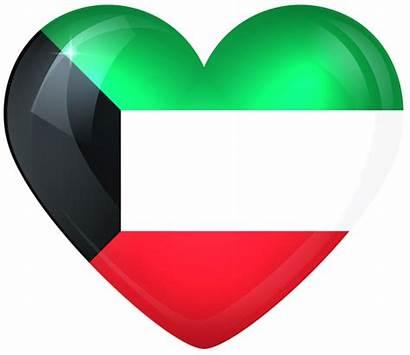 Kuwait Flag Heart National Clipart Clip American