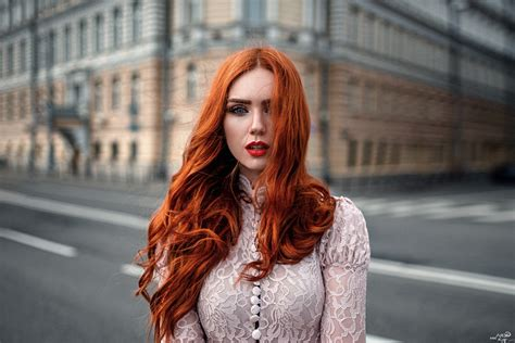 Women Model Redhead Long Hair Women Outdoors Looking