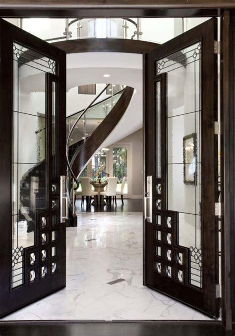 luxurious glass hallway door   expensive mansion