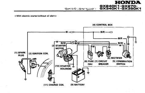 wiring diagram honda gxv390 i a new honda gx240 with electric start and charging i want to determine if it is possible