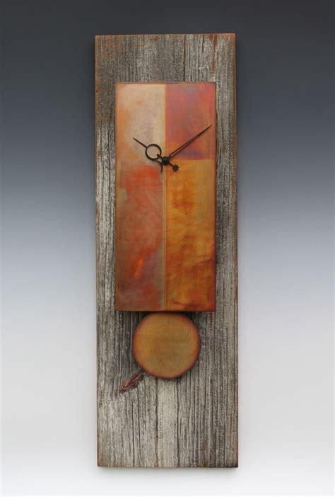 hand  copper barn wood pendulum clock  leonie
