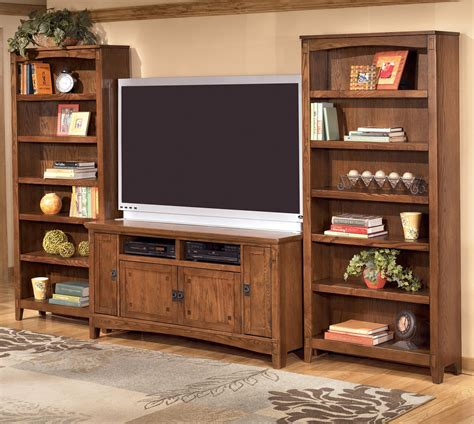 60 Inch Tv Stand & 2 Large Bookcases By Ashley Furniture