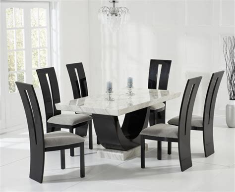 raphael 170cm and black pedestal marble dining table