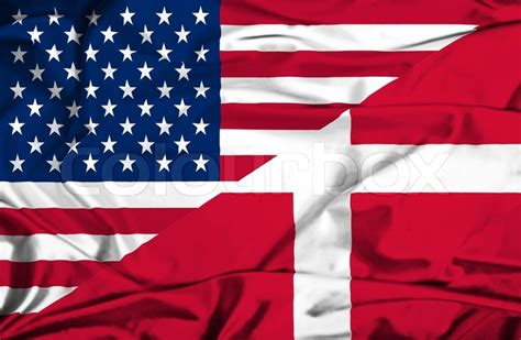 Flag of denmark describes about several regimes, republic, monarchy, fascist corporate state, and communist people with country information, codes, time zones, design, and symbolic meaning. Waving flag of Denmark and USA | Stock Photo | Colourbox