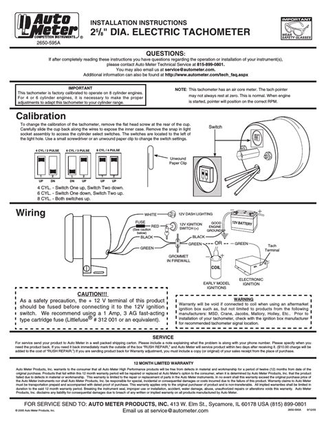 Auto Meter User Manual Page Also For