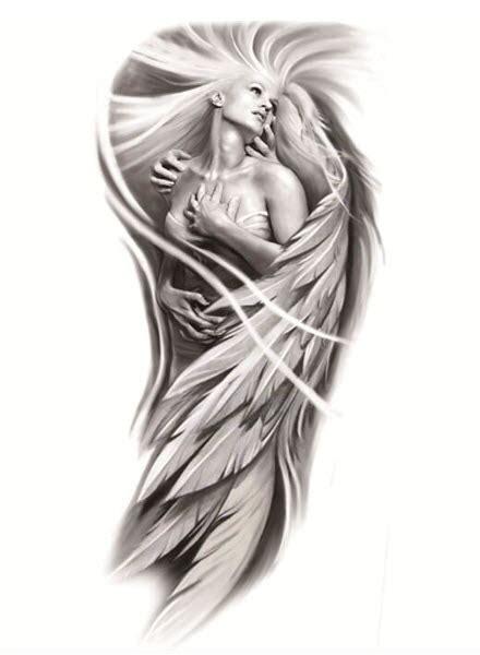 female angel tattoo sleeve tattooforaweek temporary