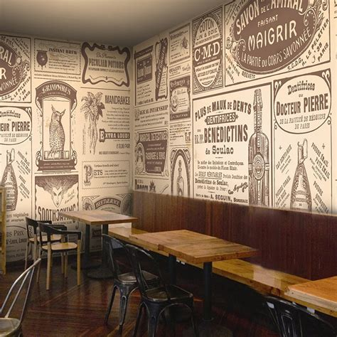 european retro newspaper photo wallpaper coffee shop bar