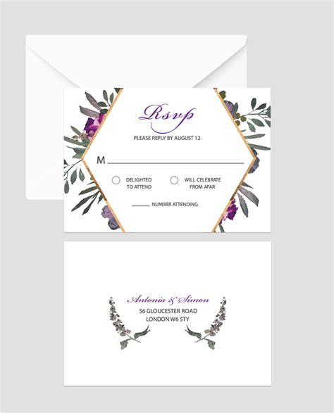 Muted Floral Wedding RSVP Card Flamboyant Invites