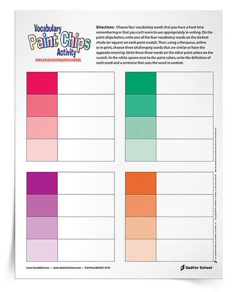 building vocabulary skills   paint chips printable