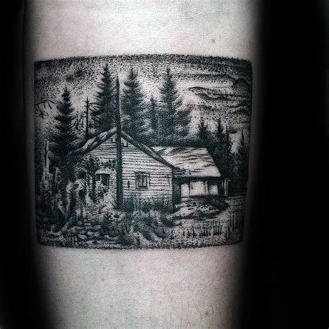 log cabin tattoo designs  men dwelling ink ideas