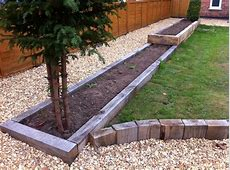 New oak railway sleeper raised beds