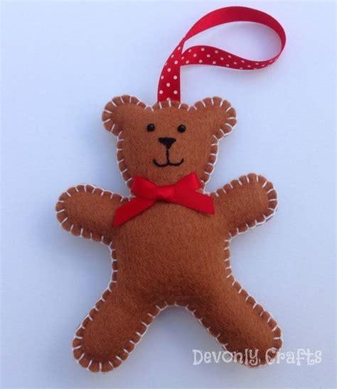 christmas teddy bear felt decoration  felt ornaments