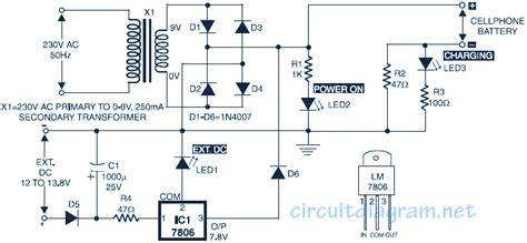 Simple Mobile Phone Battery Charger Circuit Scheme