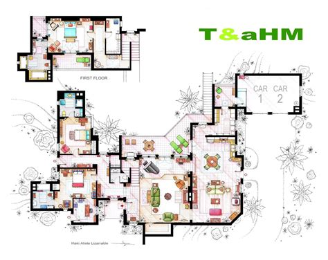 golden house layout from friends to frasier 13 tv shows rendered in