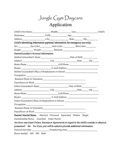 day care application forms template daycare 128 | 59ef22156328cc13351340ba3825c3f8 day care preschool