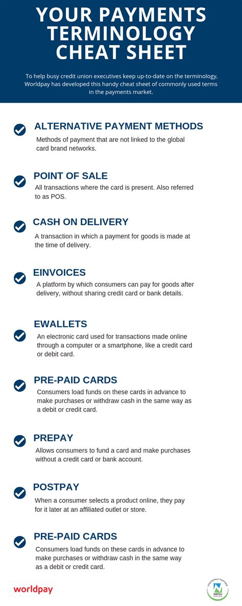 infographic  payments terminology cheat sheet
