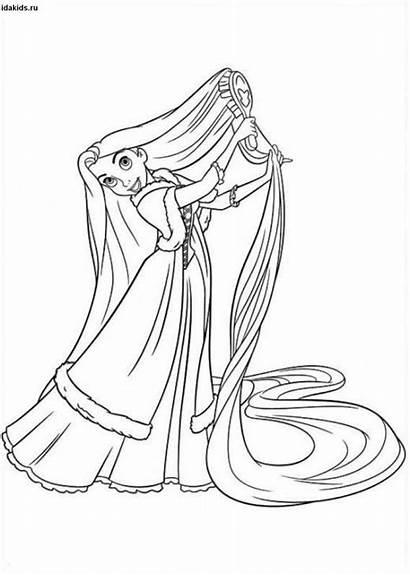 Rapunzel Coloring Pages Princess Hair Disney Comb