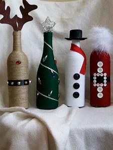 Christmas, Decor, Wine, Bottles, Snowman, Reindeer, Santa, Christmas, Tree, Up