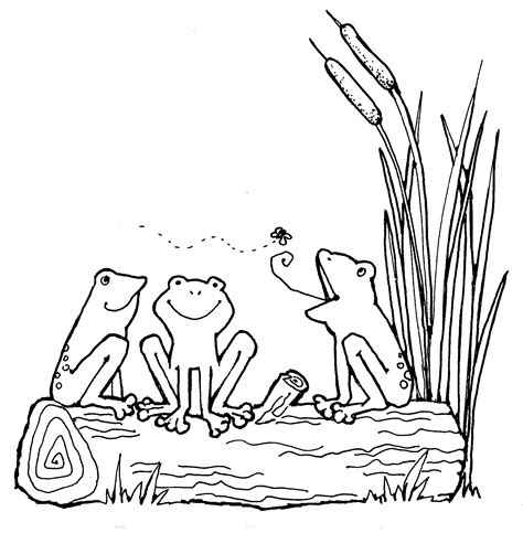 Frog Clipart Black And White Frog On A Log Clip Black And White Clipart Panda