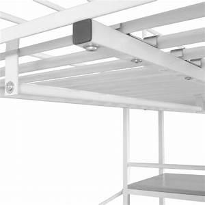 Hochbett Weiss Günstig : vidaxl hochbett mit schreibtisch metall 200x90 cm wei und braun g nstig kaufen ~ Orissabook.com Haus und Dekorationen