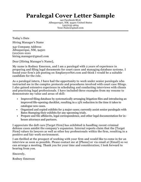 paralegal cover letter sample writing tips resume