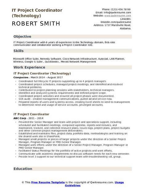 Project Manager Skill Set Resume by It Project Coordinator Resume Sles Qwikresume