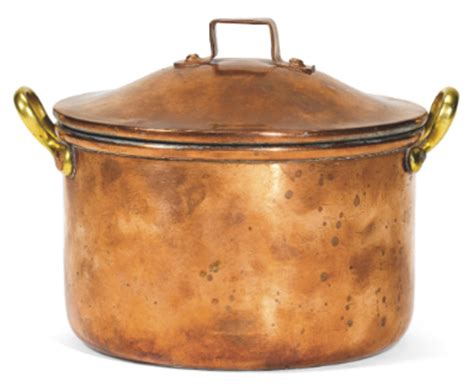 war a faberg 201 copper cooking pot 1914 cylindrical with two brass handles the domed lid with