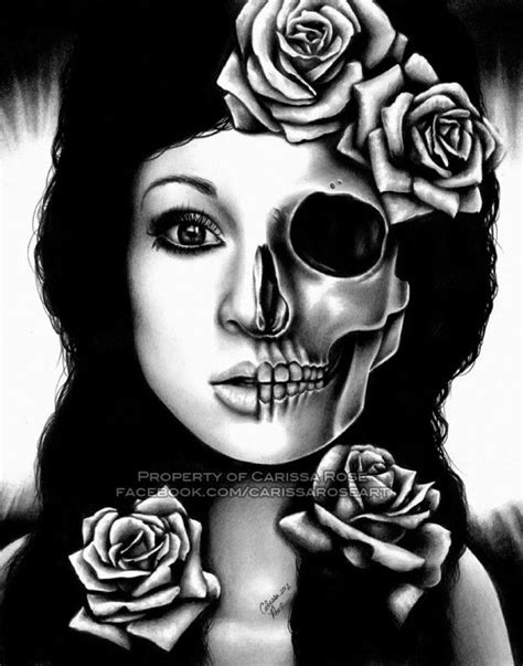 8x10 in Signed Art Print - In A Trance Half Skull Portrait by Carissa Rose, Art Gallery