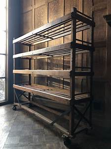 Large, Antique, Bakers, Rack, Rolling, Wood, Bakers, Rack, Industrial, Shelf, Vintage, Wooden, Bakers, Rack