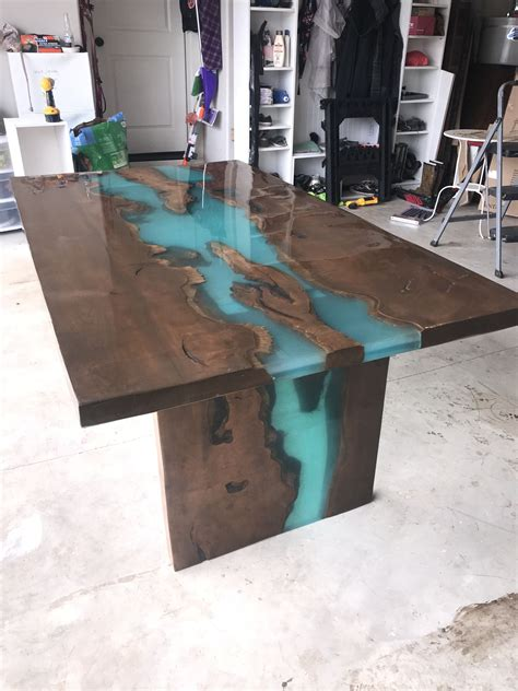 maple  edge table  turquoise epoxy furniture