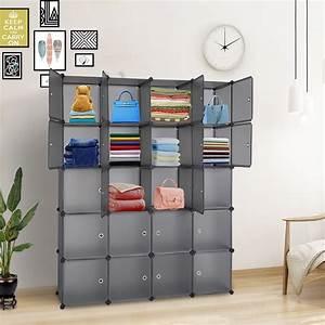 Topcobe, Cube, Storage, Organizer, 20, Cube, Storage, Unit, For, Clothes, Plastic, Cube, Storage, Shelves