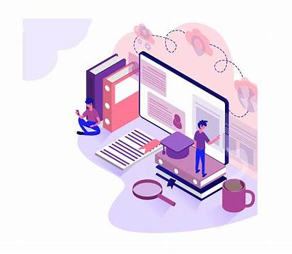 Education Vector Isometric Virtual Learning Classroom Concept