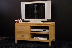 Meuble Tv 90 Cm : meuble tv 90 cm en teck quip de 2 tiroirs et 2 compartiments de rangement ~ Teatrodelosmanantiales.com Idées de Décoration