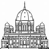 Coloring Cathedral Berlin Pages Famous Landmarks Dom Germany Places Church Dome Rock Printable Sketch Designlooter Berliner 43kb 560px Template sketch template