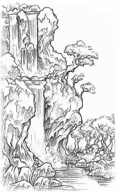 Waterfall Landscape Drawing Line Pencil Scenery Landscapes