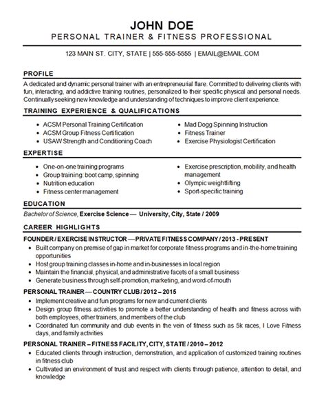 Fitness Resume by Sports Fitness Resume Exle Resume Exles Resume