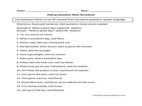 punctuating dialogue worksheet homeschooldressage