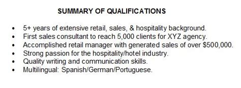 Summary Of Qualifications For Retail by Summary Of Qualifications How To Describe Yourself On