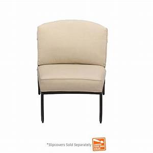 Hampton bay edington armless middle center patio sectional for Armless sectional sofa slipcovers