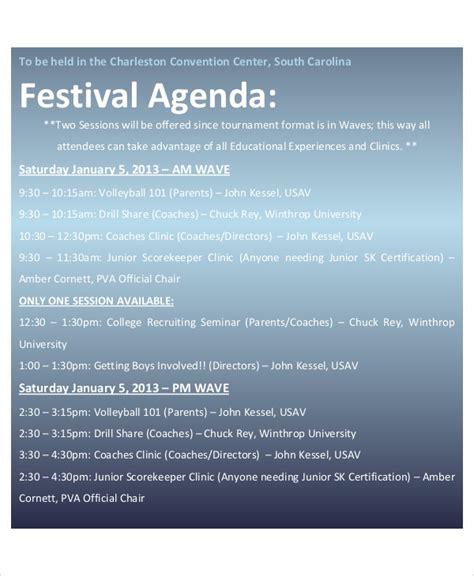 sample festival agenda  sample  format