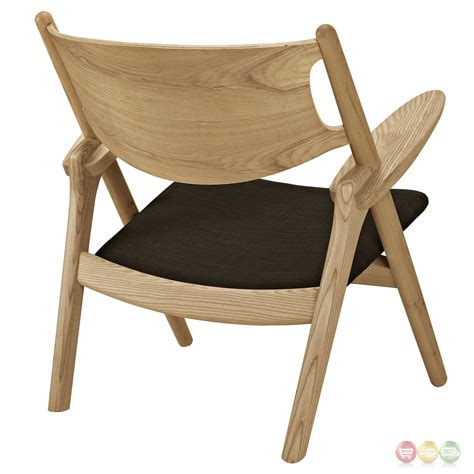concise solid wood lounge chair with padded upholstered