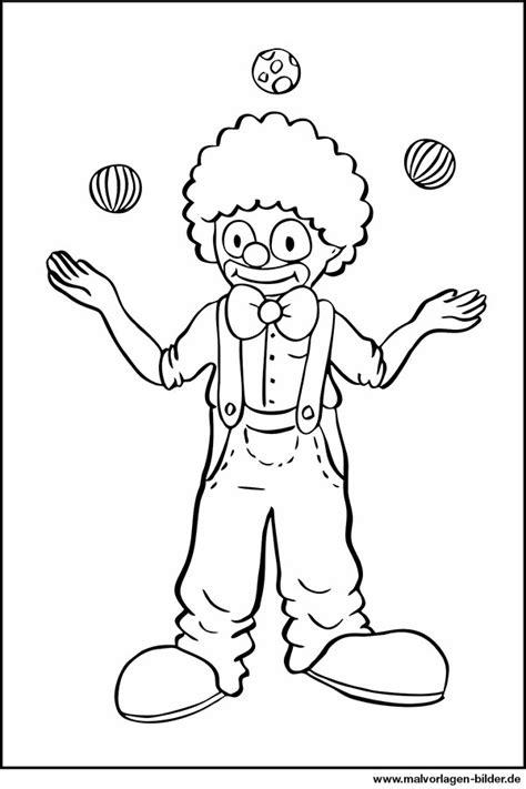 ausmalbild clown jongliert baelle