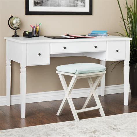 white desk with drawers cami white 3 drawer writing desk free shipping today