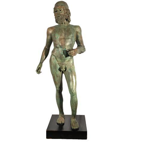 Wrought Iron Garden Benches by Bronze Greek Male Sculpture Metropolitan Galleries Inc