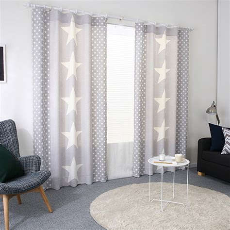 gray star print polycotton blend ready  kids curtains