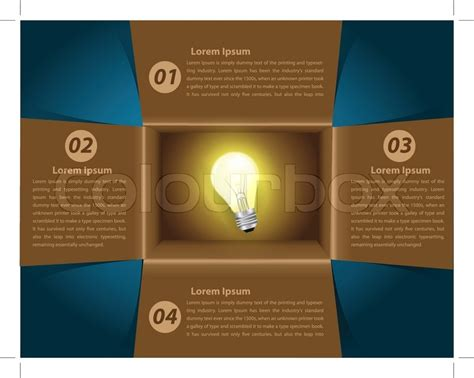 creative template with idea light bulb glowing in box
