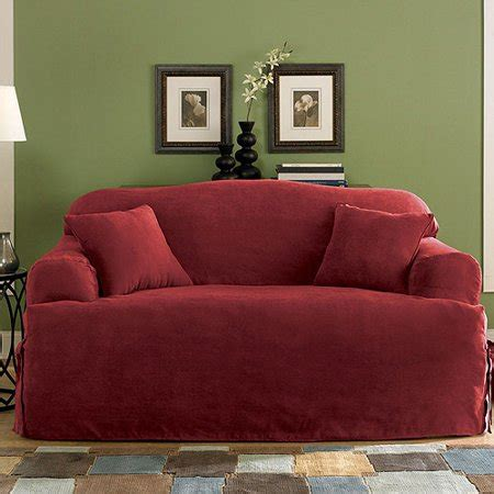 Loveseat T Cushion Slipcovers by Sure Fit Soft Suede T Cushion Loveseat Slipcover Walmart