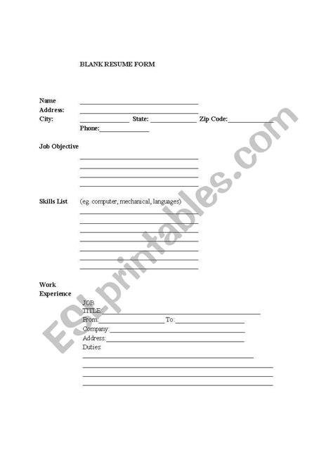 blank resume form  esl job seekers esl worksheet