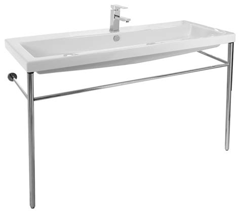 oversized kitchen sinks large ceramic console sink with polished chrome stand 1347